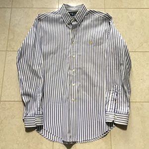 Ralph Lauren logo blue/white stripe dress shirt L